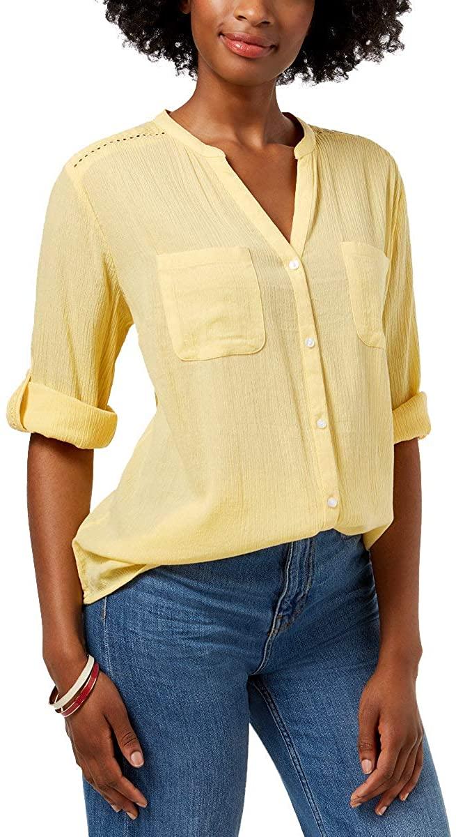 Charter Club Womens Petite Split-Neck Utility Shirt (Lemon Spritz, Petite Small)