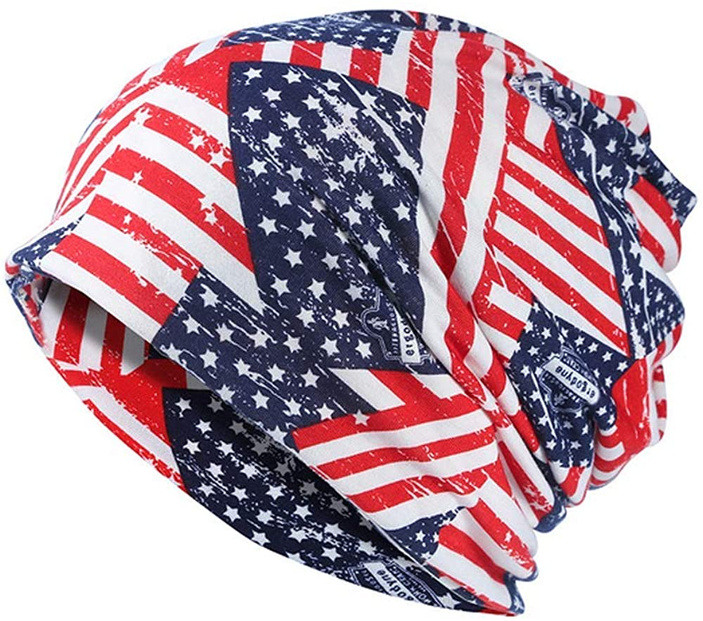 Fashion and Leisure United States Flag Printed Hoodie Unisex Headscarf Hat Scarf Dual-Use