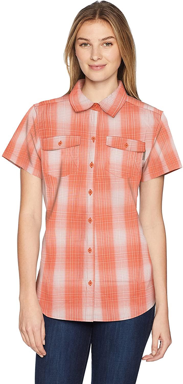 Wolverine Womens Brook Short Sleeve Shirt Shirt, Melon Plaid, XX-Large