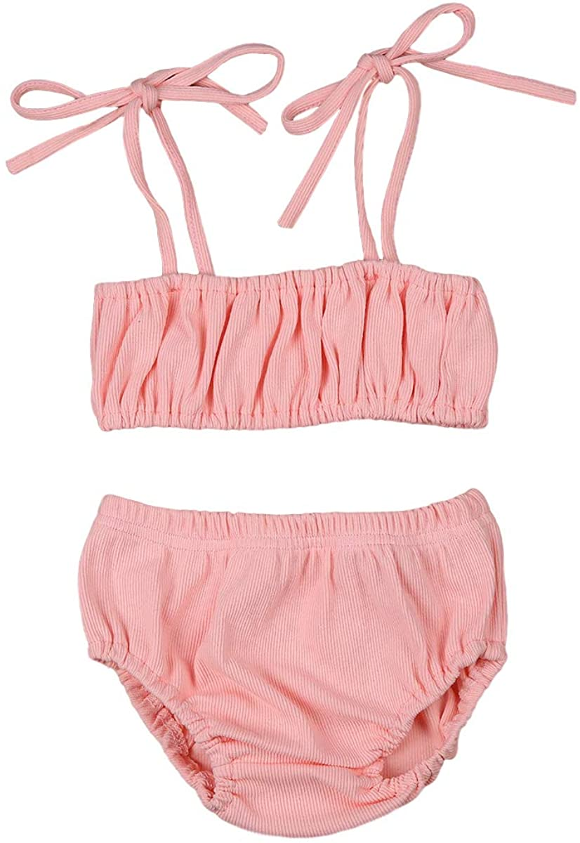 Newborn Baby Girls Summer Knit Outfit Halter Tank Tops+Shorts Solid Color 2PCS Infant Ribbed Outfit