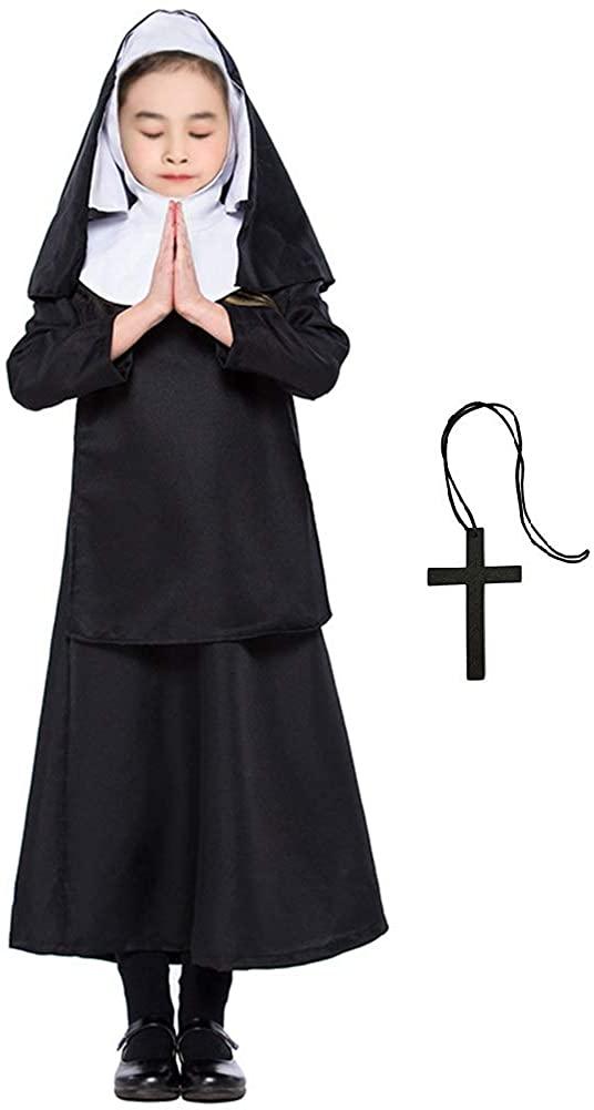 Girls Nun Costumes Complete Nun Costume for Kids Halloween School Party Fancy Dress