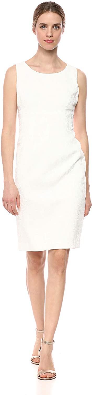 Kasper Women's Sleeveless Jewel Neck Daisy Jacquard Dress