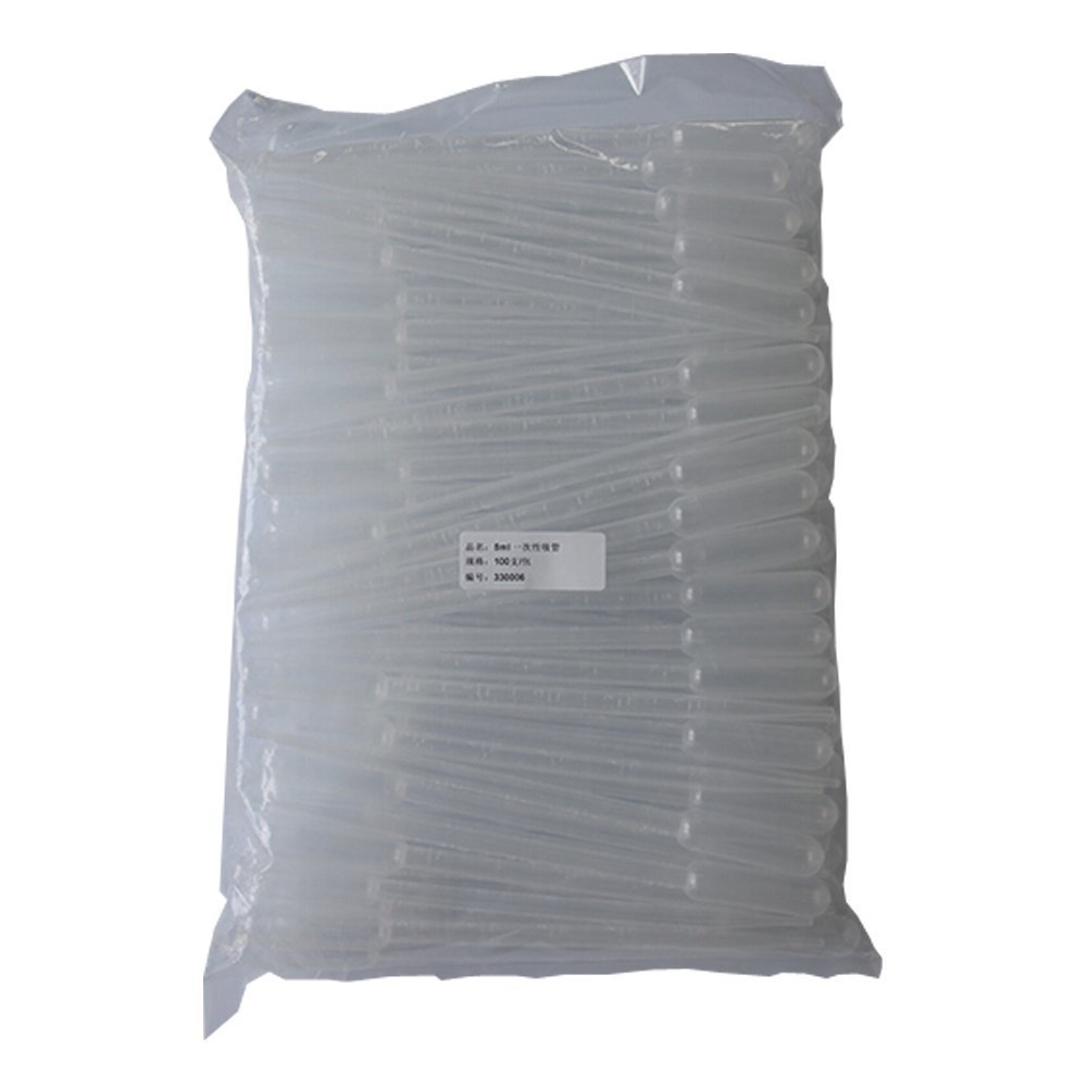 BIPEE 5ml Graduated Transfer Pipettes, 210mm Length Plastic Dropper, Pack of 100pcs
