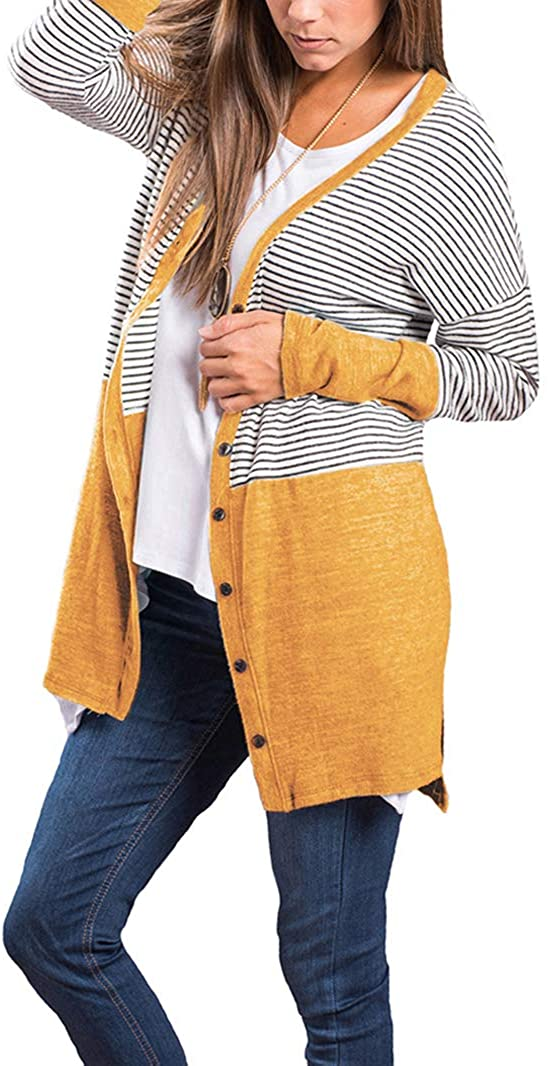 PRETTODAY Women's Striped Button Down Cardigans Long Sleeve Basic Knit Sweaters