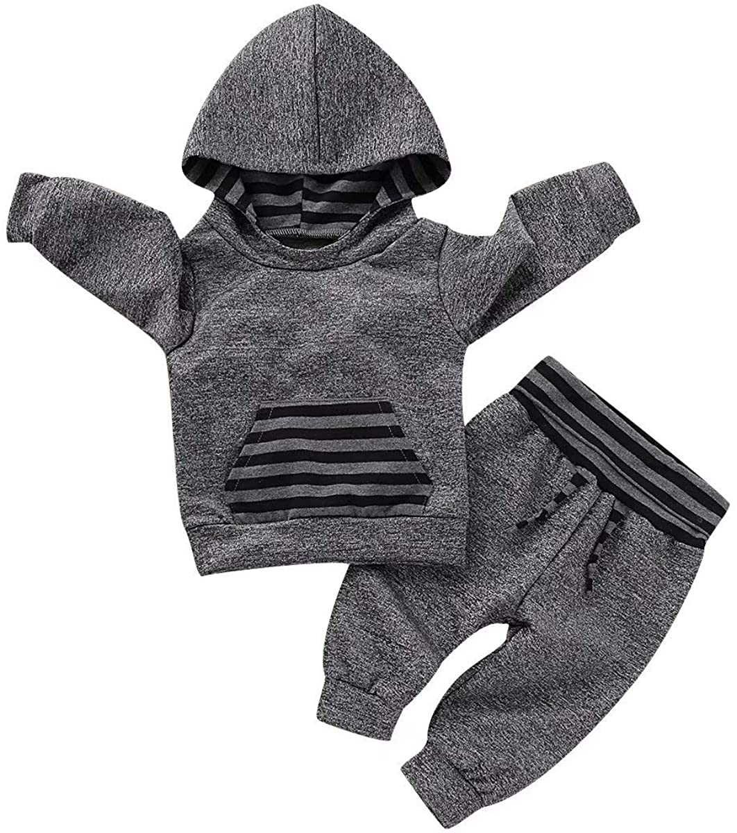 Infant Baby Boys Girls Fall Outfit Plaid Pocket Hoodie Sweatshirt Shirt+Pants Winter Clothes Set