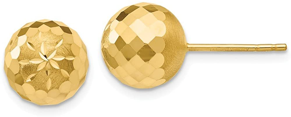 14K Yellow Gold 9mm Shiny-Cut Mirror Ball Post Earrings