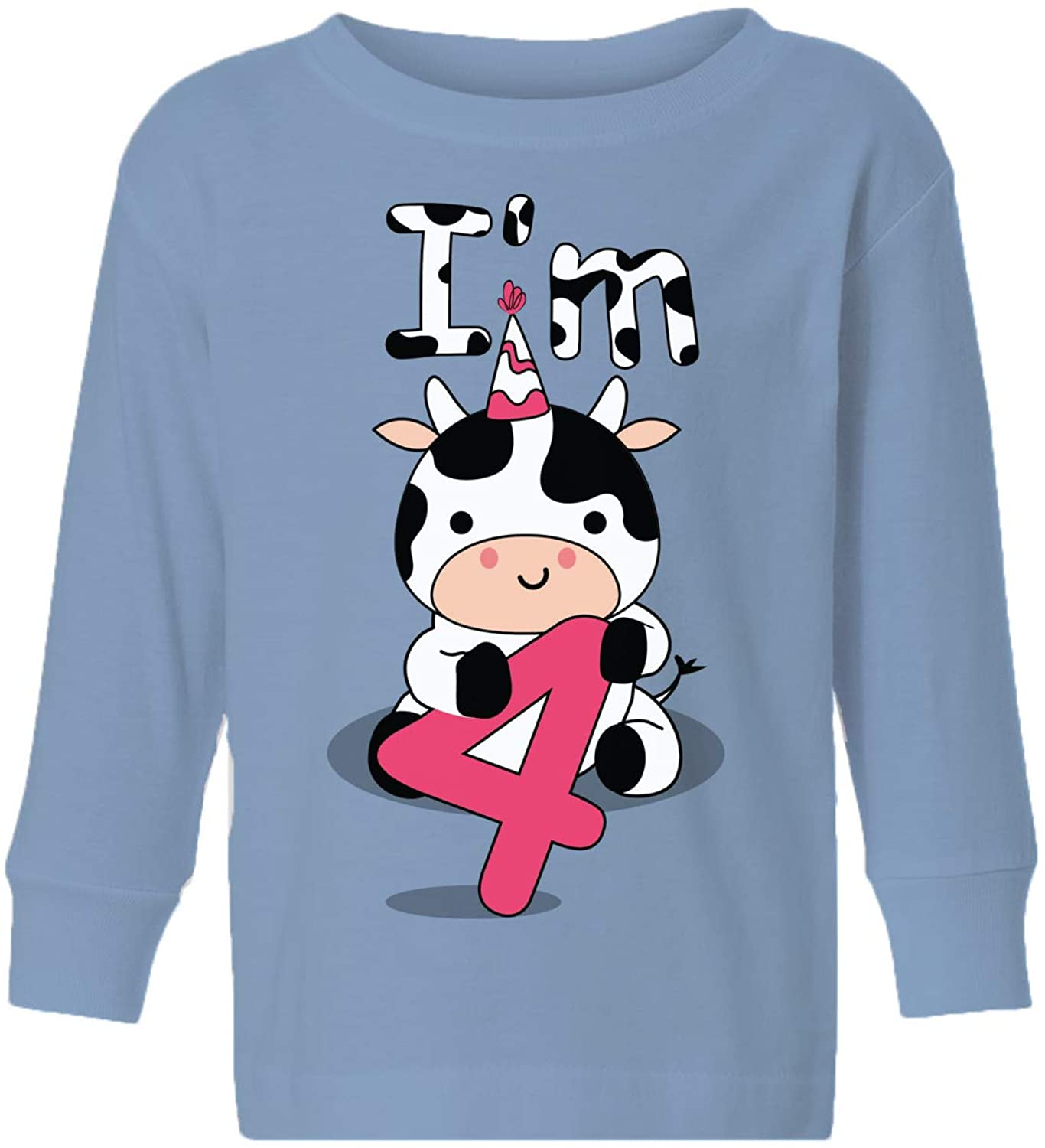 Awkward Styles Kids Birthday Outfits Cow Four Toddler Long Sleeve 4 Years Old Baby Shirt I'm Four for Children