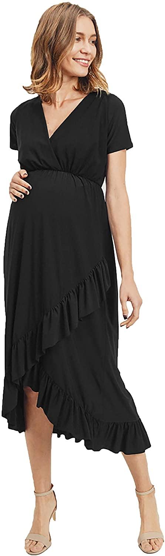 LaClef Women's Maternity Ruffle Midi Dress