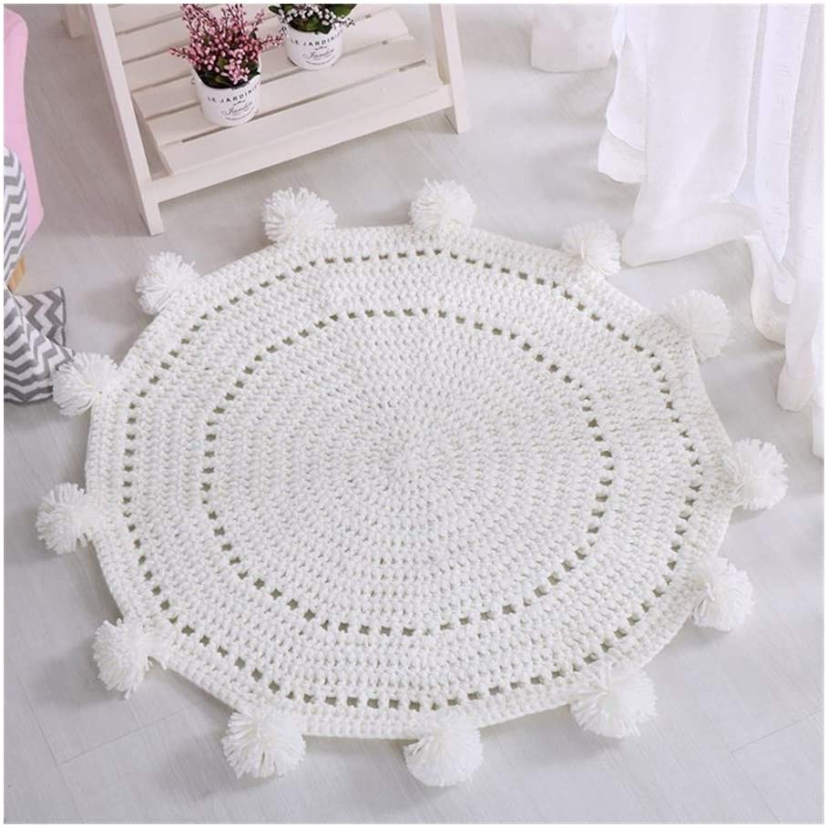Full of Fun Baby Play Mat, Knit Fitness Carpet Play Mat Baby, Round Floor Mat Newborn Room Decoration Play Mat for Baby for Bedroom Living Room Games Room Soft and Comfortable (Color : White)