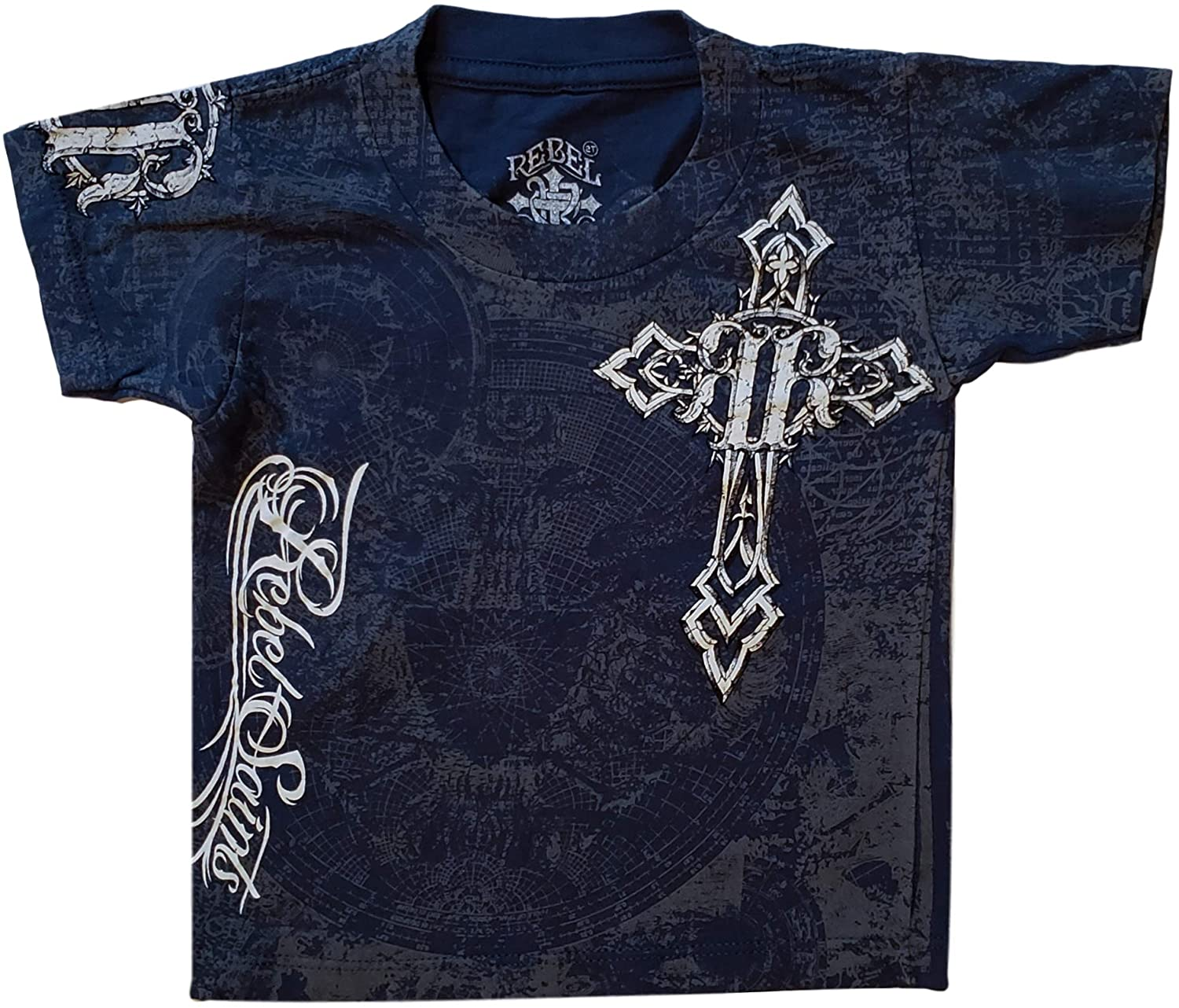Rebel Saints Affliction Toddler T-Shirt Tee Cross Wings