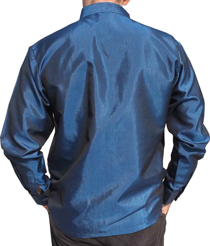 RaanPahMuang Brand Long Sleeve Formal Chinese Woven Motif Silk Shirt Plus Sized