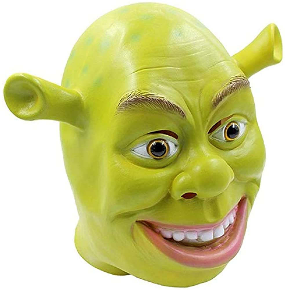 Halloween Shrek Donkey Mask Full Cosplay Head Green Costume Mask for Unisex Adult