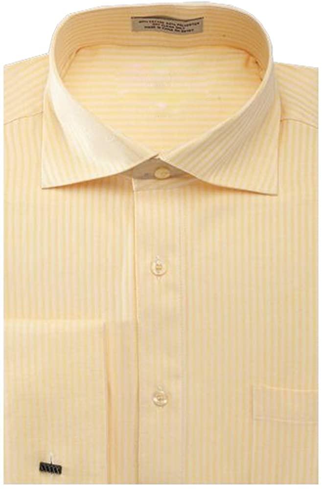Sunrise Outlet Men's Striped Herringbone French Cuff Dress Shirt