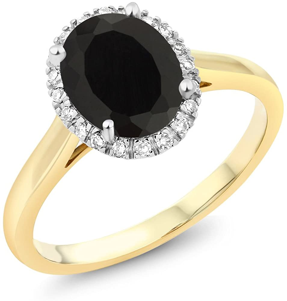 Gem Stone King 10K 2-Tone Gold Oval Black Onyx and White Diamond Halo Engagement Ring 2.00 cttw (Available 5,6,7,8,9)