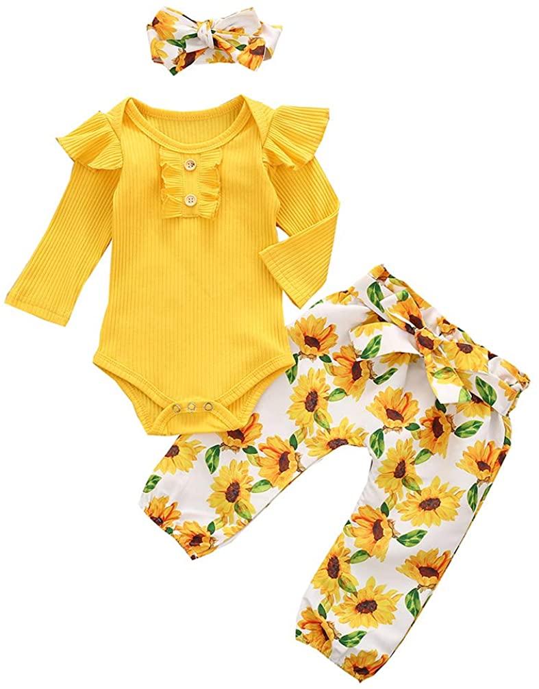 MTSLYH Newborn Baby Girl Outfits Ribbed Ruffle Romper+Sunflower Pants+Bow Headband 3pcs