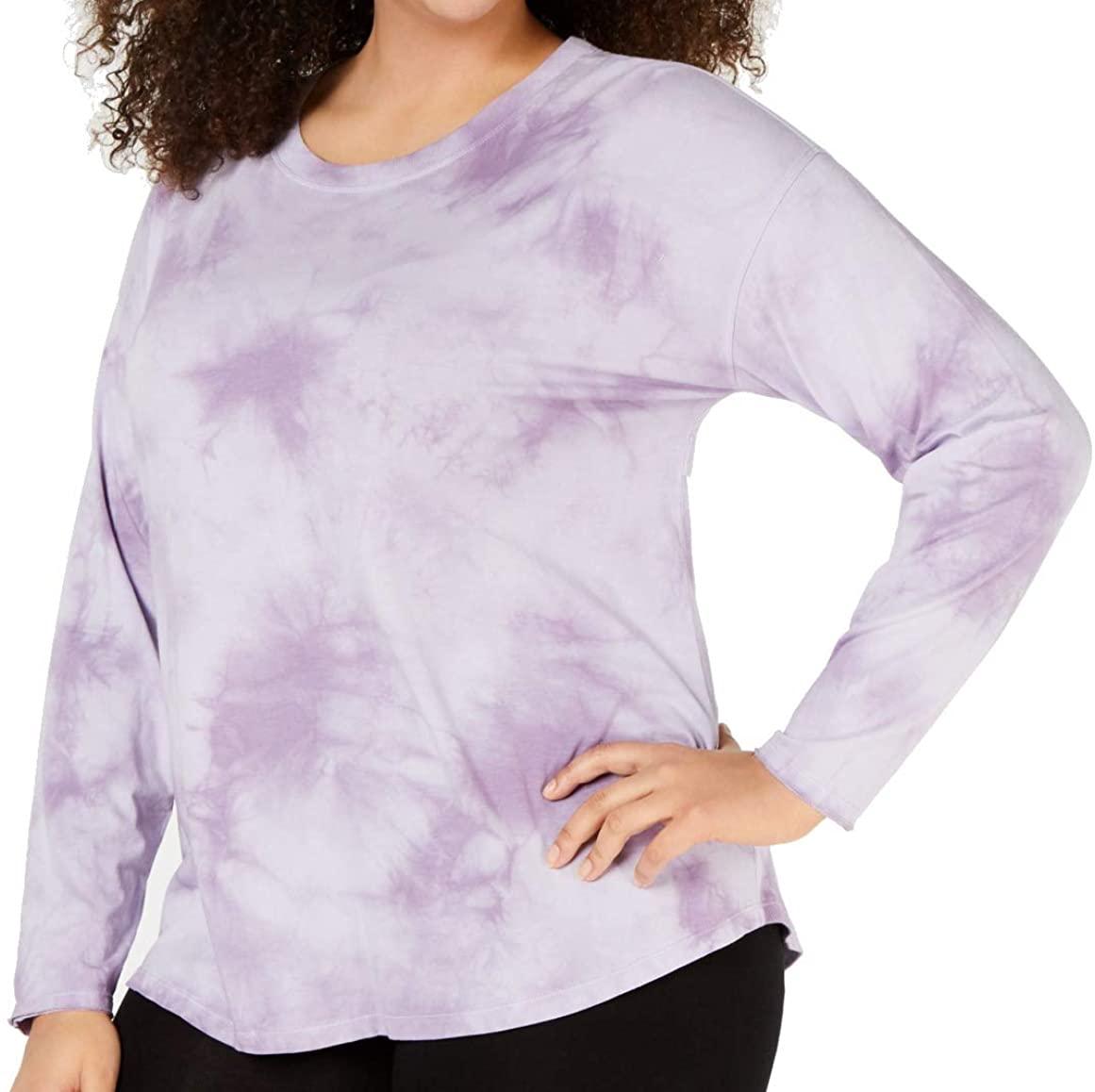 Calvin Klein Performance Womens Plus Quick Dry Tie-Dye T-Shirt Purple 3X