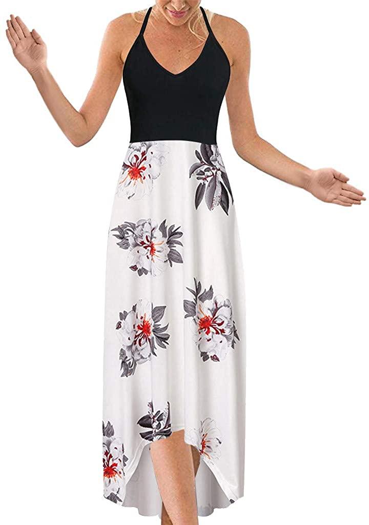 ZSBAYU Womens Halter Neck Deep V Asymmetrical Floral Dress Beach Backless Bohemian Maxi Long Dress
