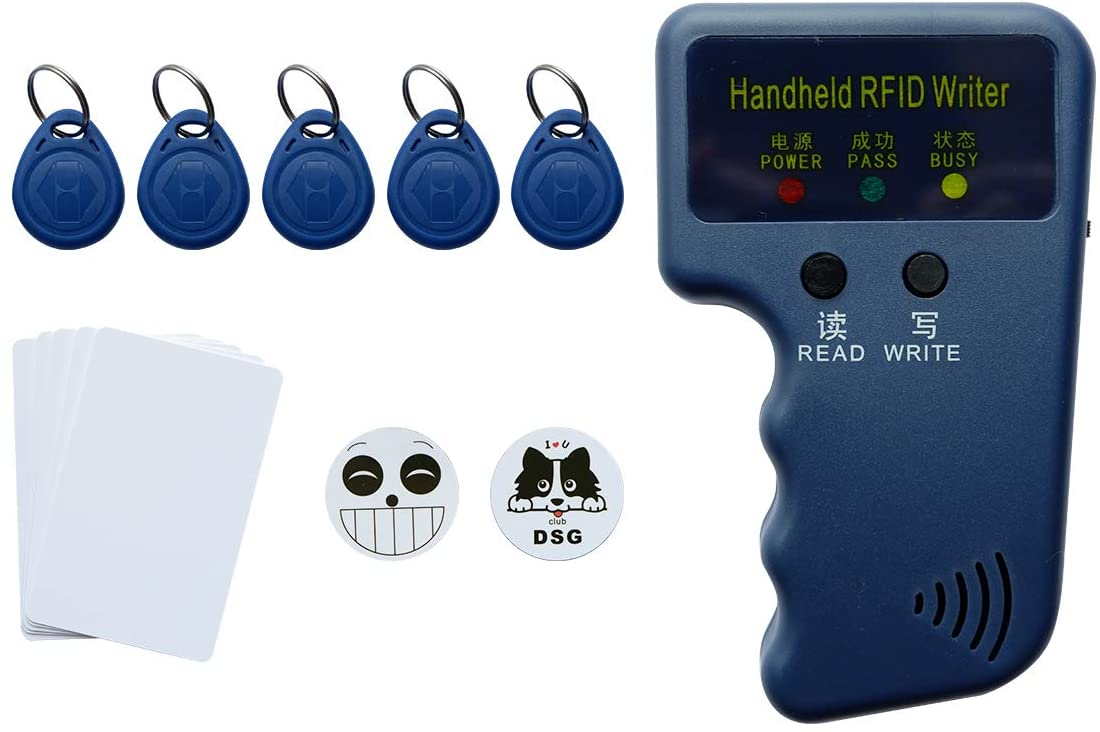 RFID 125KHz Card Reader Writer - Readable 125khz EM4100 Chip card Compatible with Proximity II Card Including Key-fob 5pcs 3M Sticker 2pcs Blank Card 5pcs