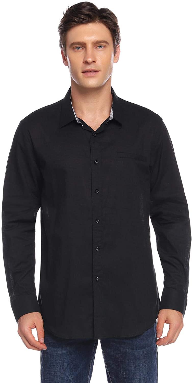 Aibrou Men's Long Sleeve Regular Fit Linen Cotton Casual Shirt Button Down Solid