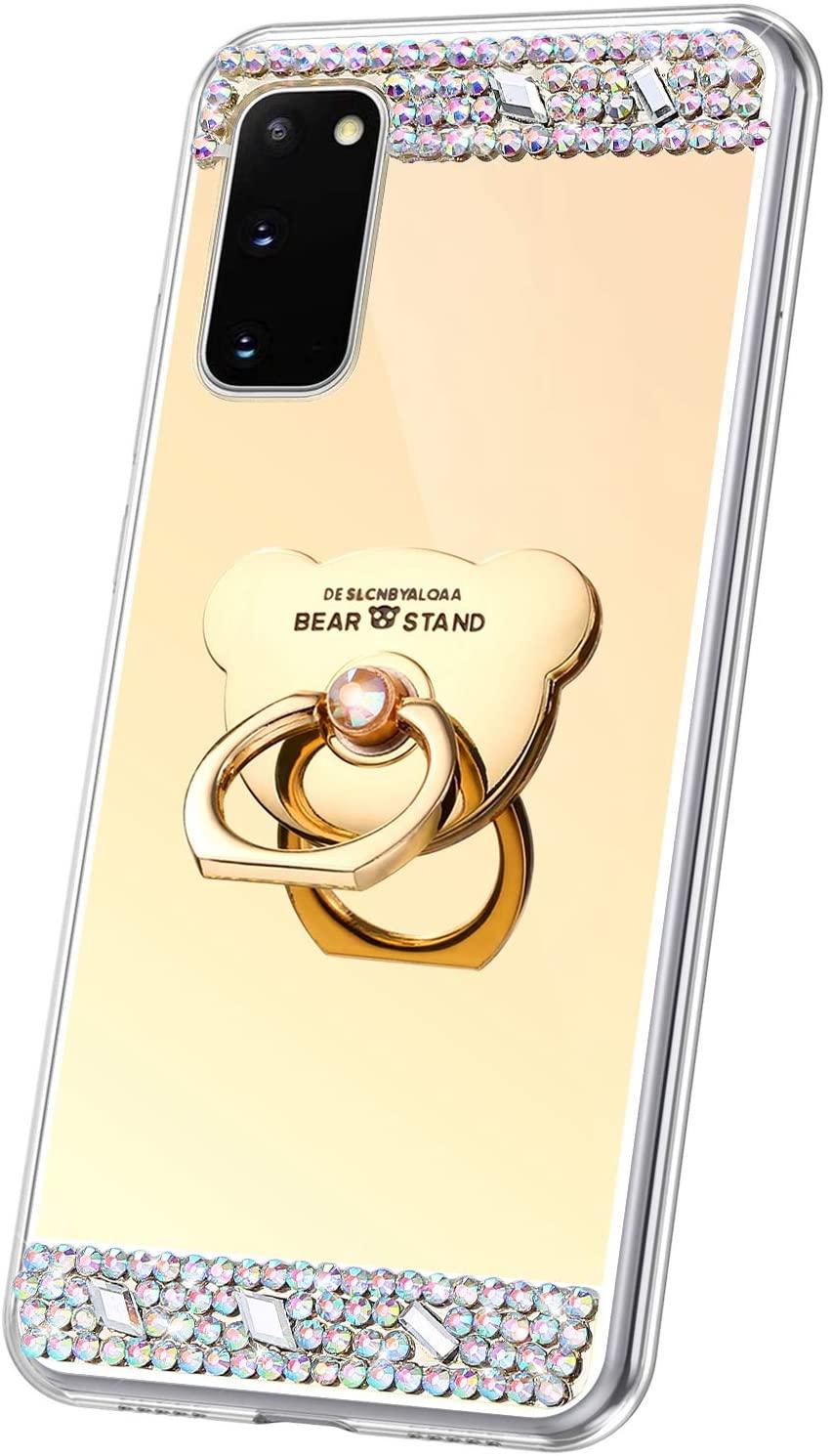 PHEZEN for Samsung Galaxy S20 Case Silicone Bling Diamond Glitter Rhinestone Mirror Makeup Case for Women Girls TPU Bumper Case Cover & Bear Ring Holder for Galaxy S20 Diamond Case,Gold