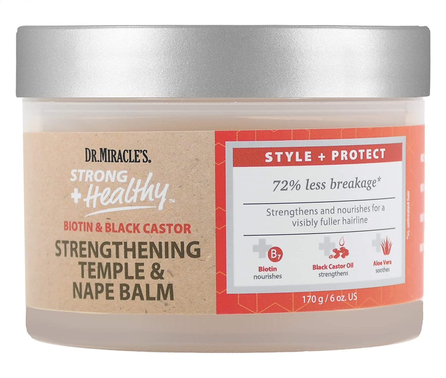 Dr. Miracles Strong & Healthy Temple & Nape Balm. Contains Aloe Vera and Black Castor Oil for length retention and growth.