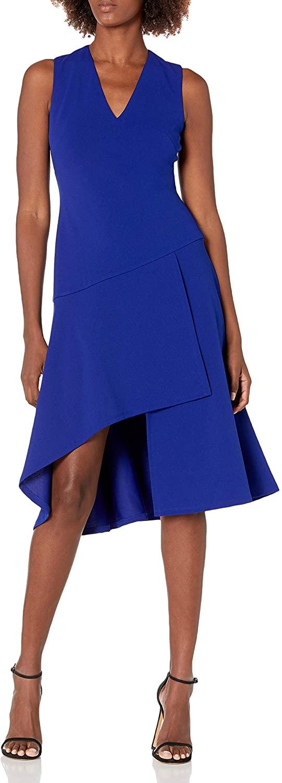 Vince Camuto Women's Sleeveless V Neck Dress with Diagonal and Ruffled Hem