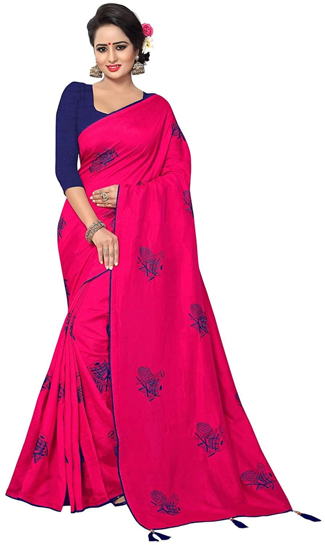 Saree for Women Bollywood Wedding Designer Rani Sari with Unstitched Blouse.