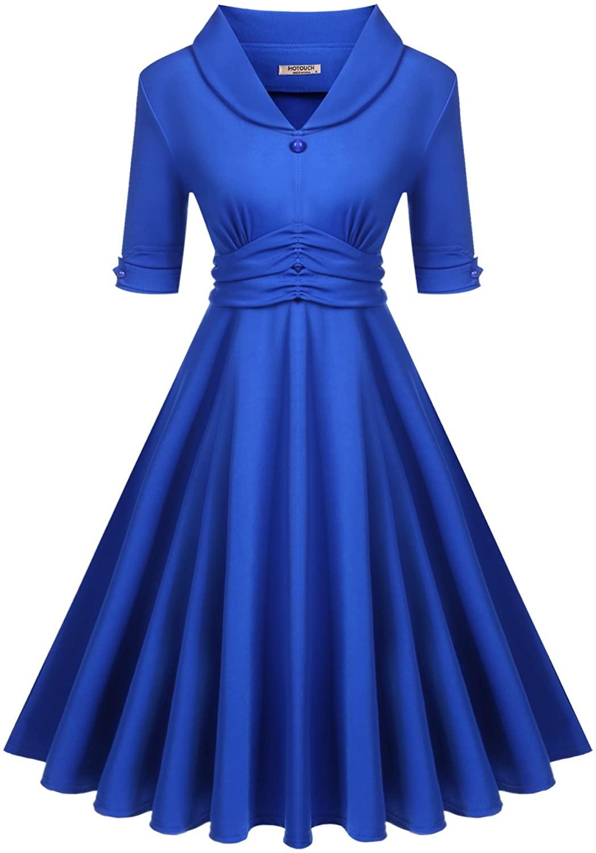 Hotouch Women Shawl V-Neck Half Sleeve High Waist Ruched Flared Swing Midi Dress (M, Blue)