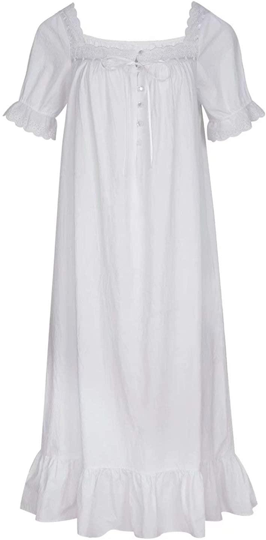 Cloudy Dream Women Victorian Nightgown 100% Cotton Vintage Nightie with Pockets