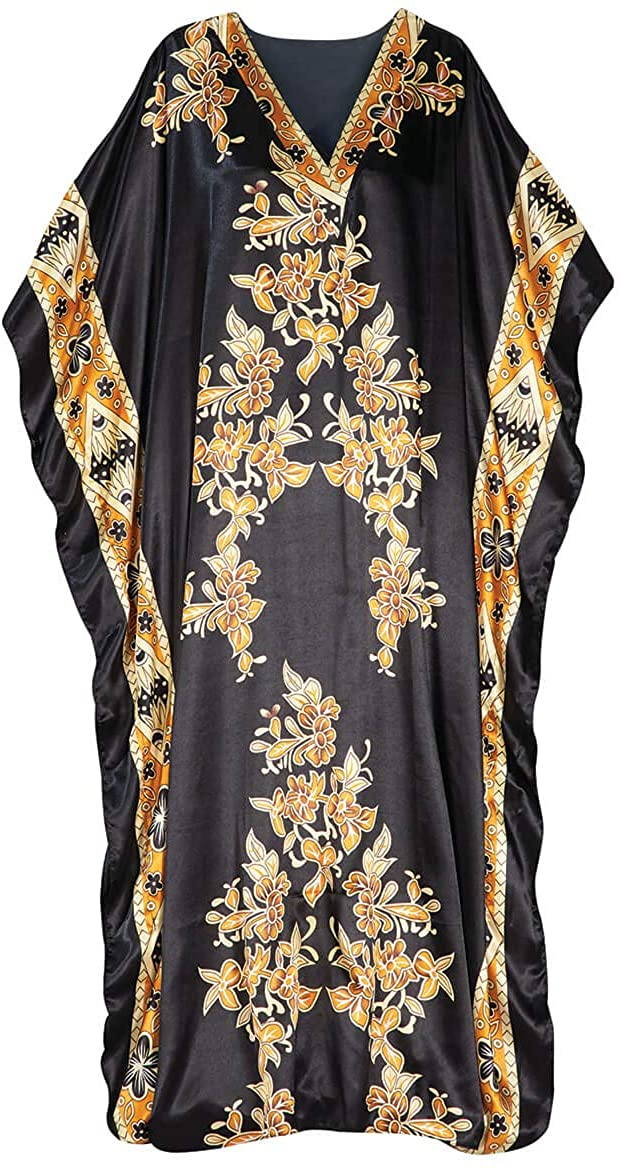 Fox Valley Traders Black and Gold Print Shiny Caftan by Sawyer Creek