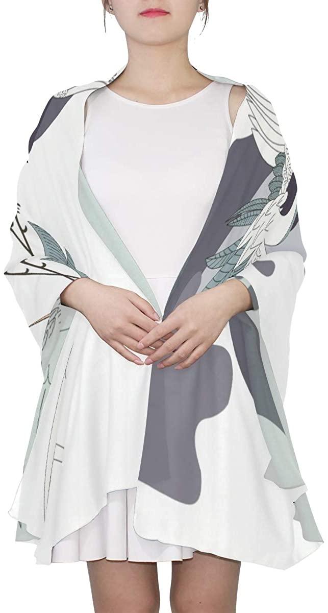 Ethel Ernest Chinese Style Cranes Silk Scarf Lightweight Shawl Soft Long Scarves Chiffon Neckerchief for Womens Girls Ladies