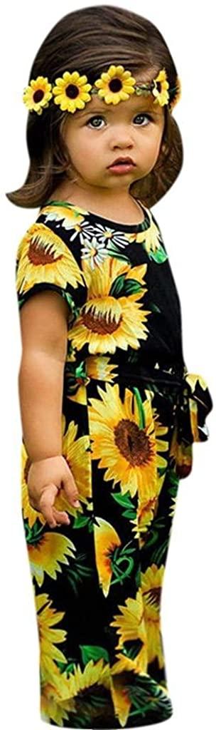 terbklf Children Kids Girls Short Sleeve Sunflower Print Bodysuit Jumpsuit Clothes Toddler Kids Stylish Elegant Onesies