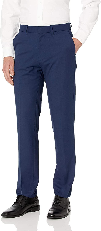 J.M. Haggar Men's Solid Gab 4-Way Stretch Slim Fit Flat Front Dress Pant, Bright Blue, 33Wx30L