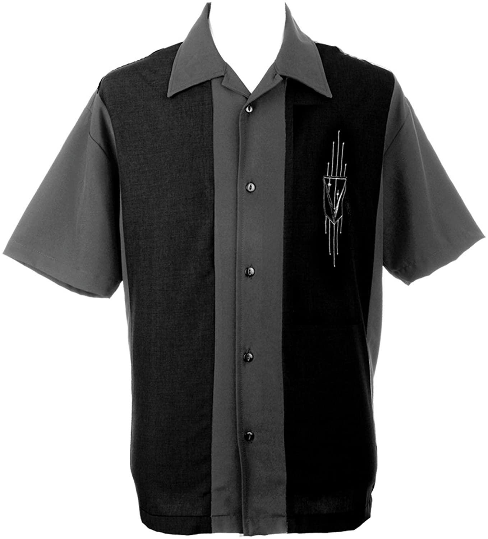 Lucky Paradise Bowling Retro USA Made Button Down T-Shirt ~ Cuban Collar ~ Silver Caddy