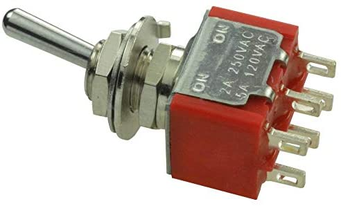 1MD1T1B5M1QE - Toggle Switch, On-On, DPDT, Non Illuminated, 1MD1 Series, 5 A, Panel Mount, (Pack of 20)
