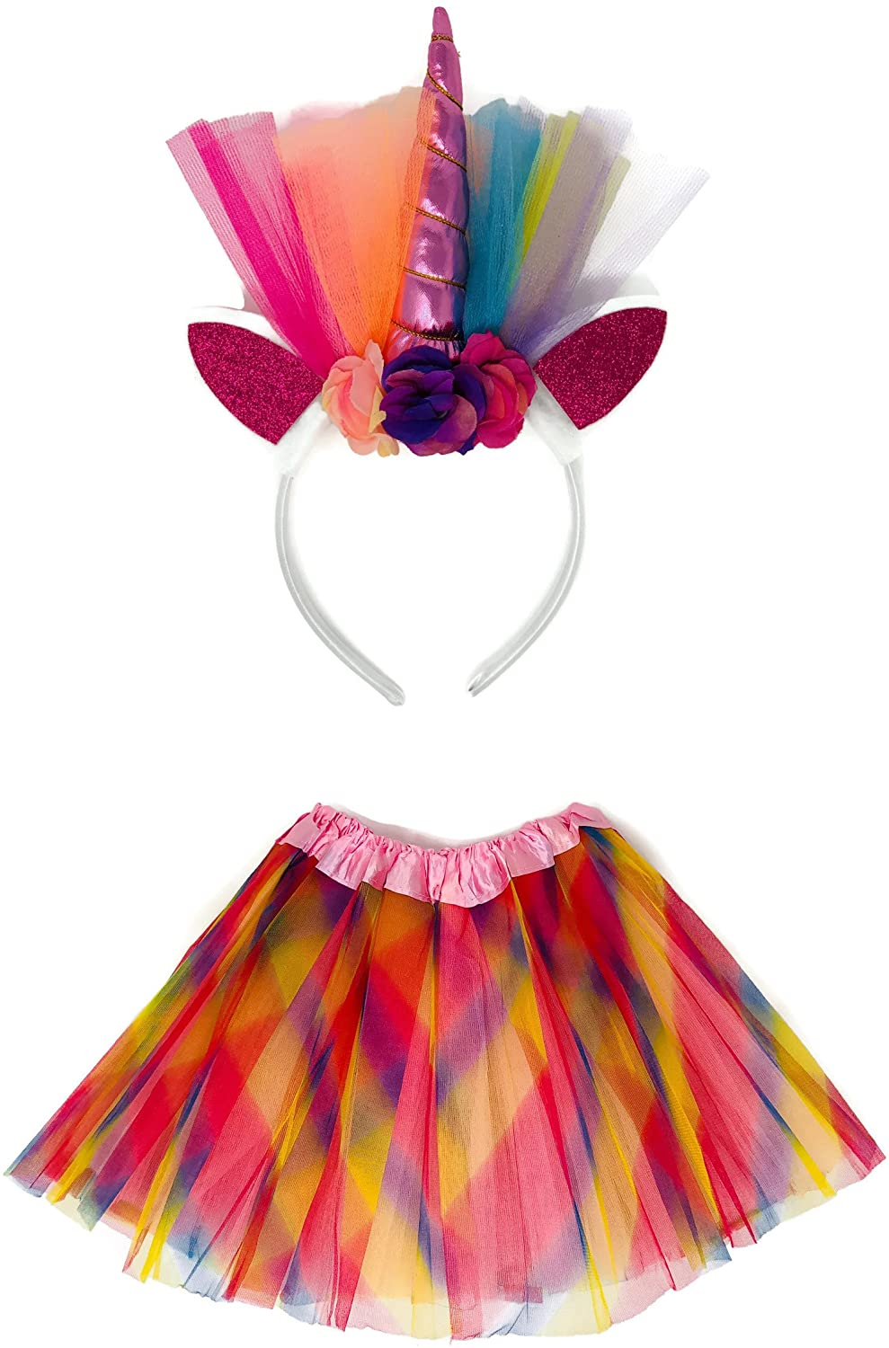 Rush Dance Tutu Skirt, Ears, Tail Headband Halloween School Performance Costume (Kid Size (2-8 Years Old), Rainbow Unicorn)