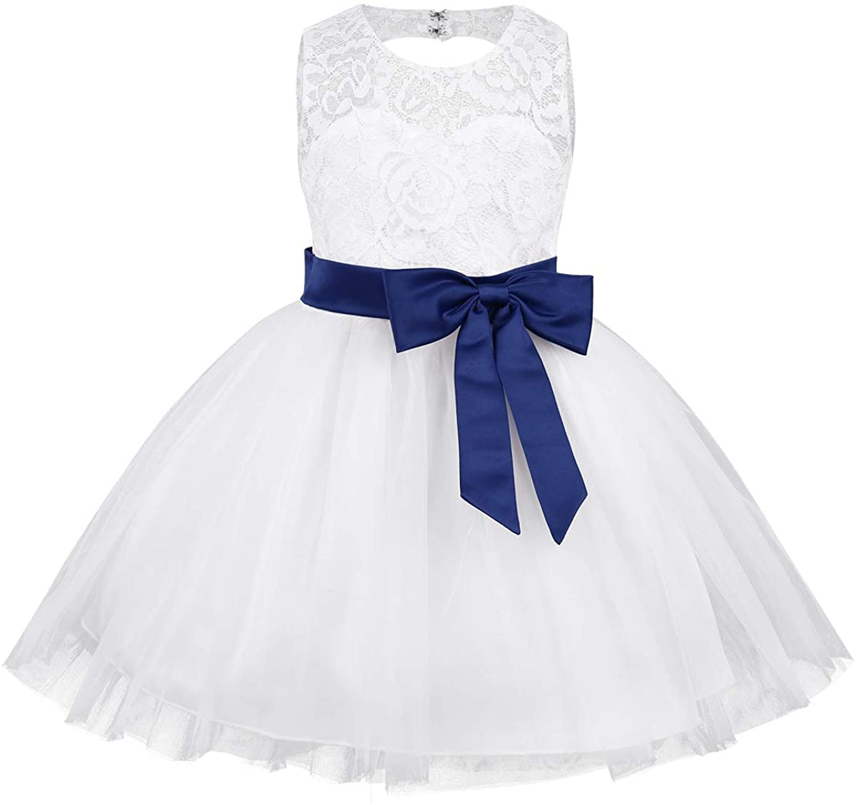 ACSUSS Infant Baby Girls Wedding Pageant Bridesmaid Floral Lace Flower Dress Bowknot Sash Tutu Dress Ball Gown