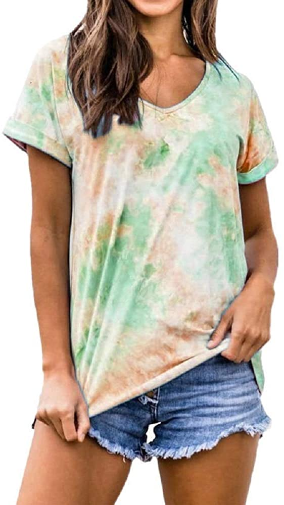 Upgraded Tie Dye V Neck Casual Summer Basic Tee Tops Women Short Sleeve High Material Cosy Shirt