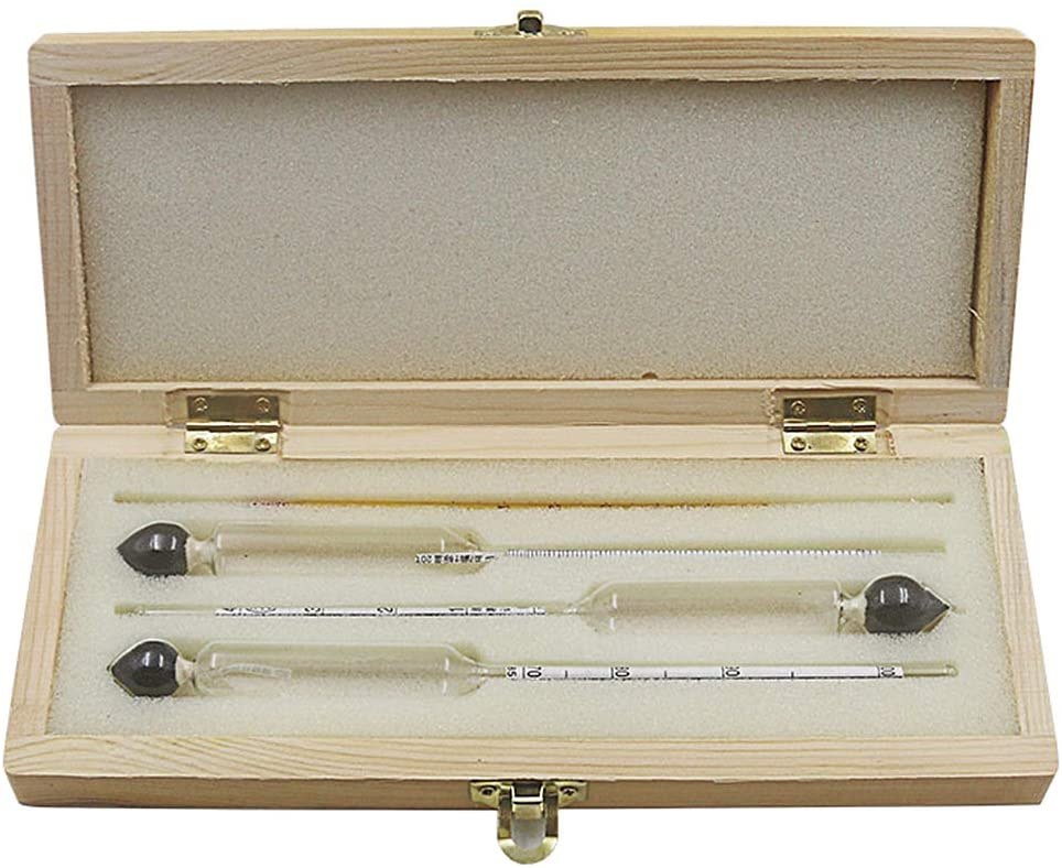 minansostey 3pcs Alcohol Meter Hydrometer Tester 0 to 100% With Thermometer Gadget Case Kit For Wine Instruments