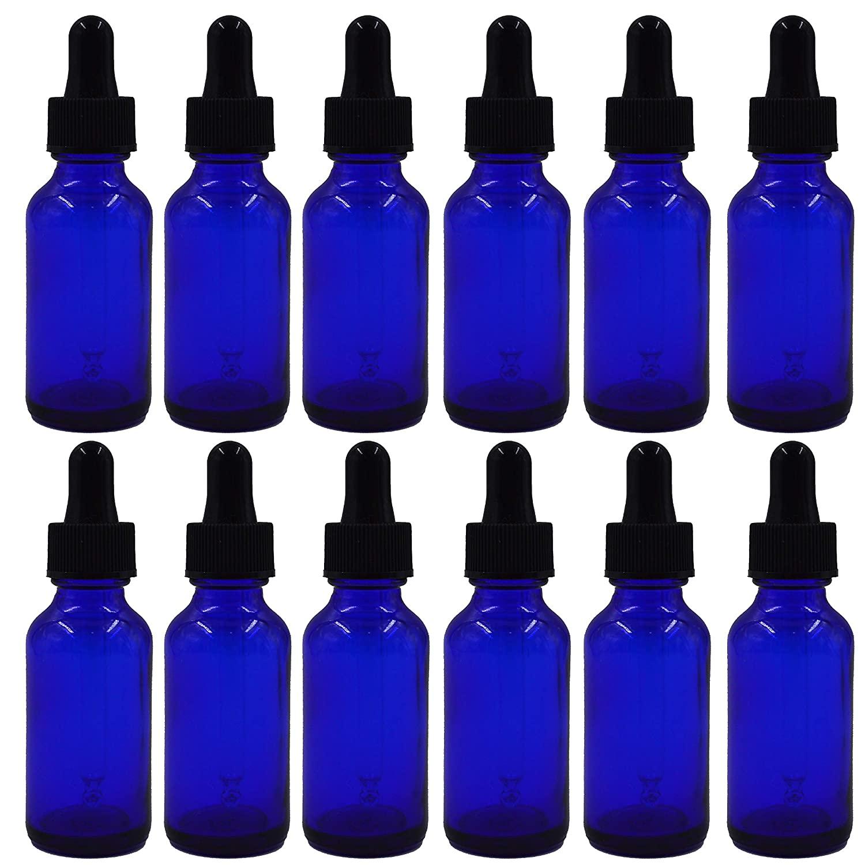 U-Pack 1oz Cobalt Blue Boston Glass Bottles with Glass Eye Dropper Dispenser for Essential Oils, Kitchen Tools, Chemistry Lab Chemicals, Colognes & Perfumes (12 Pack) (Cobalt Blue)