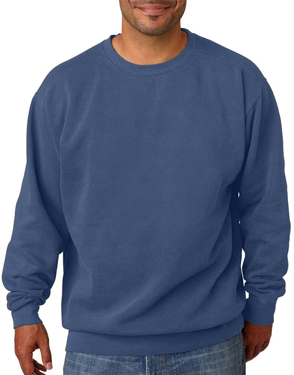 Adult Crew-Neck Blended Sweatshirt (Blue Jean PgmDye) (2X-Large)
