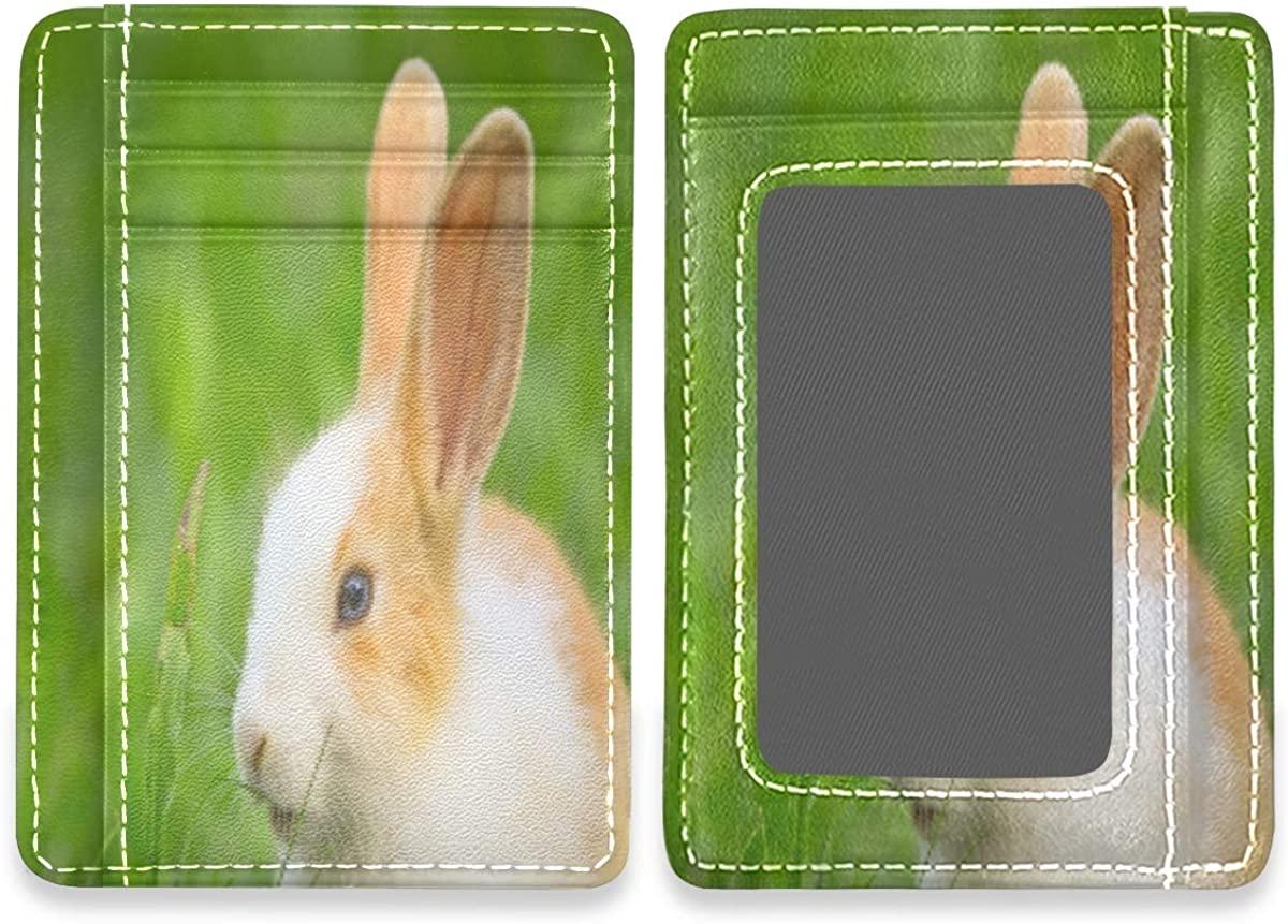 Little Rabbit Sitting Bunny Slim Rfid Credit Card Holder Case Leather Cardholder Wallet Men Women