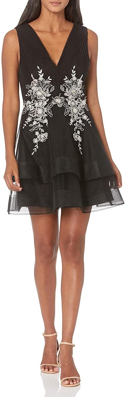 BCBGMAXAZRIA Womens Tulle Applique Dress