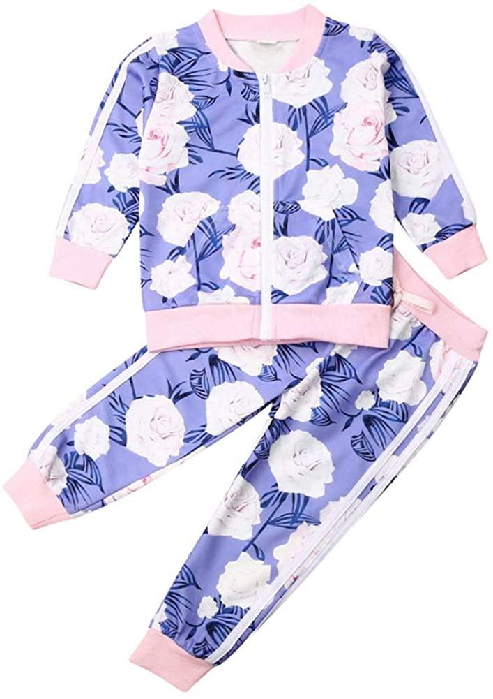 Toddler Baby Girl Clothes Zipper Long Sleeve Sweatshirt Coat Top Pants Outfits Set