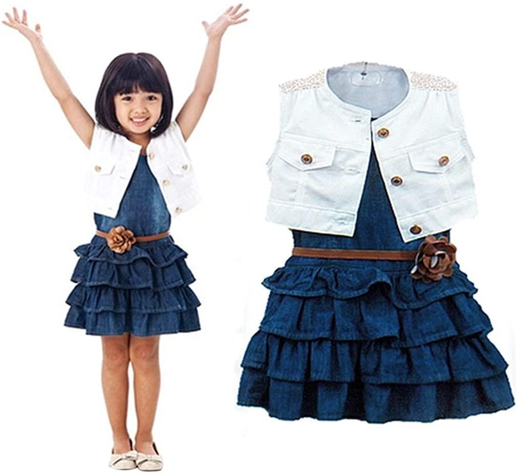 Winhurn 2017 Children Summer Girls Vest Jeans Dress + Jacket 2pc Suits
