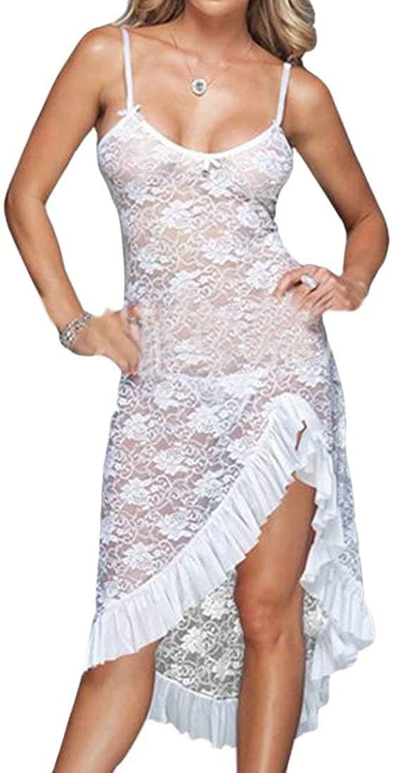 SELX-Women Sleepwear Chemise Spaghetti Strap Nightgown Full Slip Lace Lounge Dress
