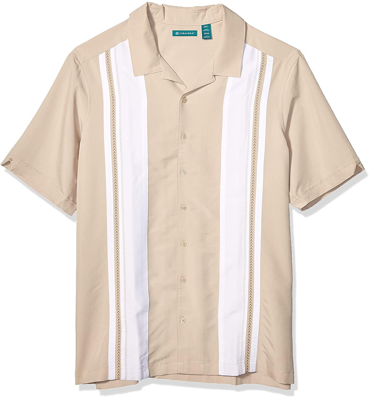 Cubavera Men's Big and Tall Big & Tall Color Block Embroidery Panel Shirt