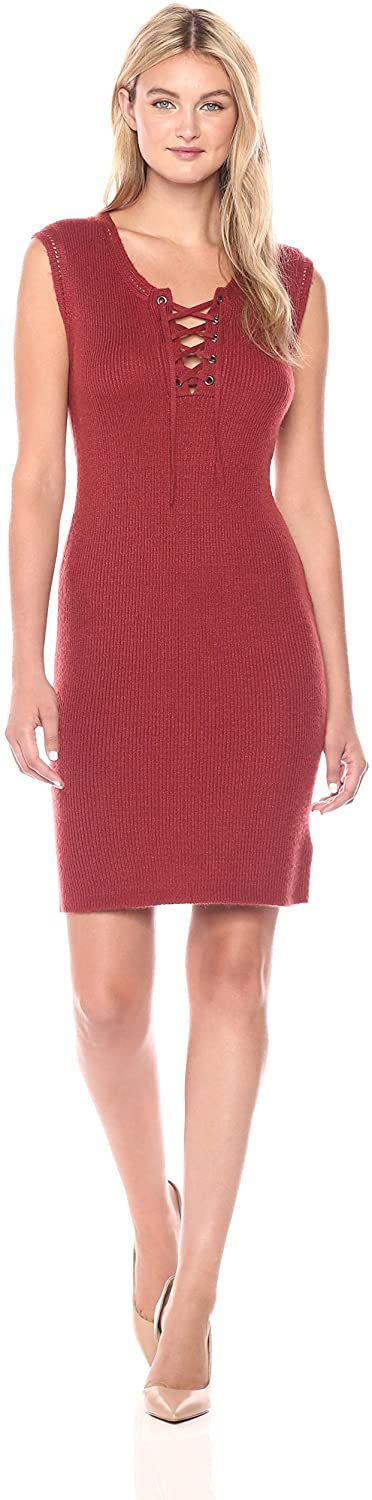 cupcakes and cashmere Women's Thora Lace Up Sweater Midi Dress