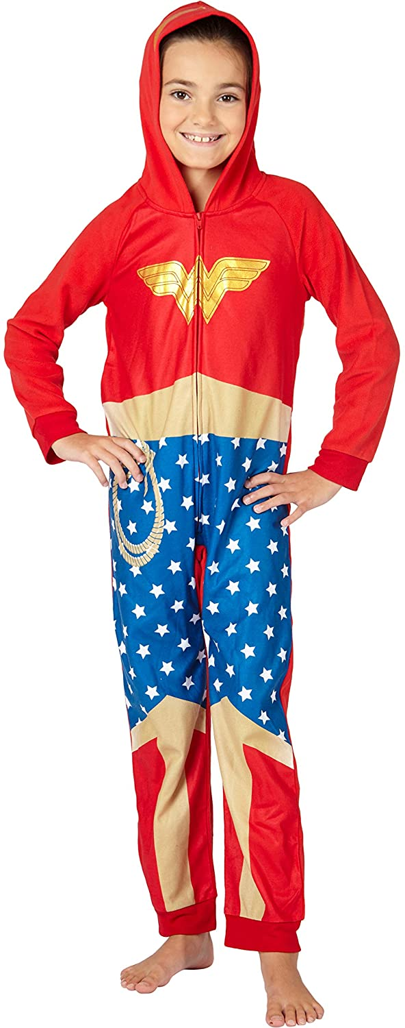 DC Comics Wonder Woman PJ One Piece Costume Pajama Union Suit for Toddlers Girls and Juniors