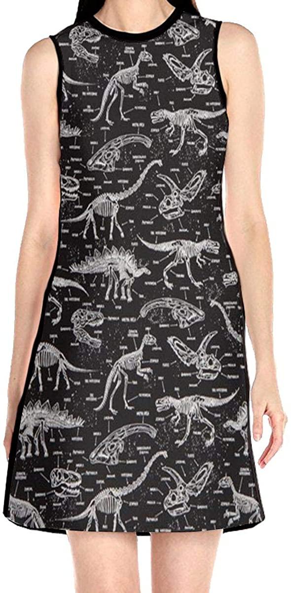 Fossil Tyrannosaurus Women's Sleeveless Dress Casual Slim A-Line Dress Tank Dresses